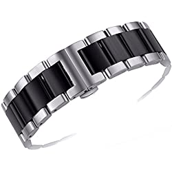 15mm Beautifully Crafted Narrow Watch Replacement Bands Stainless Steel in Two Tone Silver and Black