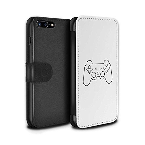 STUFF4 PU-Leder Hülle/Case/Tasche/Cover für Apple iPhone 8 Plus / Pack 20pcs Muster / Spielsteuerung Kollektion Weiß PS1/PS2/PS3