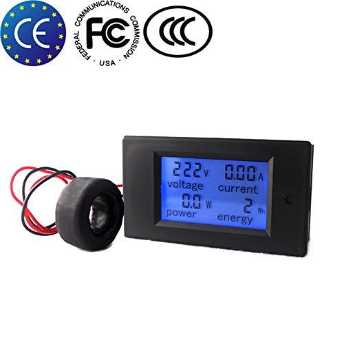 KETOTEK Voltmeter Ammeter AC Digital Meter Spannungsprüfer Din Rail CT Strom Leistungsmesser Energiezähler AC 80-260V 100A Voltmeter Volt Ampere Multimeter LCD Spannung Tester (AC 80-260V 100A) (Ampere-meter)