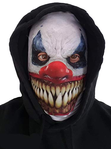 White Demon Killer Clown Adult Face Mask Realistic Printed Lycra for ()