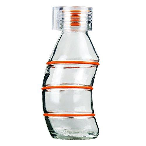 Grip & Go 350ML Kurvige' Glas Trinkflasche - Rutschfeste Silikongriffringe - Stopper aus Silikon, Transparenter Verschluss - ZYANBLAUE