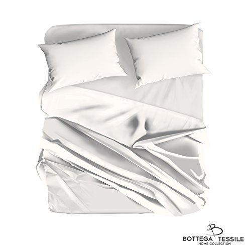 Elemental - completo lenzuola e federa letto matrimoniale in morbida microfibra, tinta unita, colore bianco
