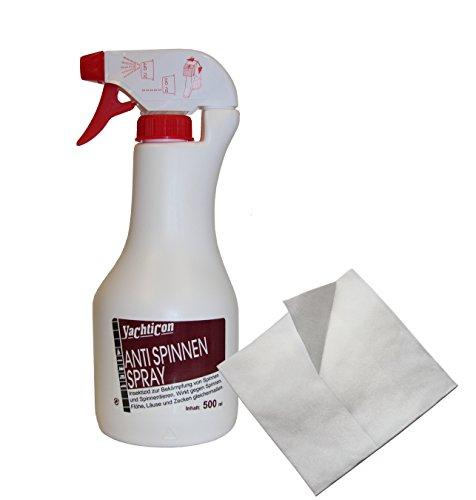 Anti Spinnen Spray 500ml inklusive Poliertuch. Yachticon Antispinnenspray tötet vertreibt Spinnentiere. Einfach aufsprühen, wo eine Spinne oder Insekt ist (Laus Floh Milbe Krätze Zecke)