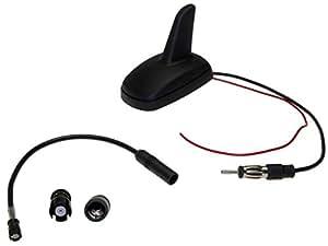 Shark - Toit de la voiture antenne requin autoradio adaptateur d'antenne Raku II DIN ensemble pour Audi VW