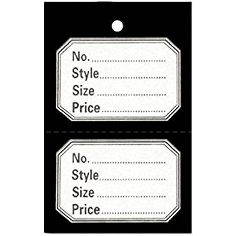 1000Unstrung Nero perforato per indumenti, riferimento Stock biglietto/etichette/Etichette