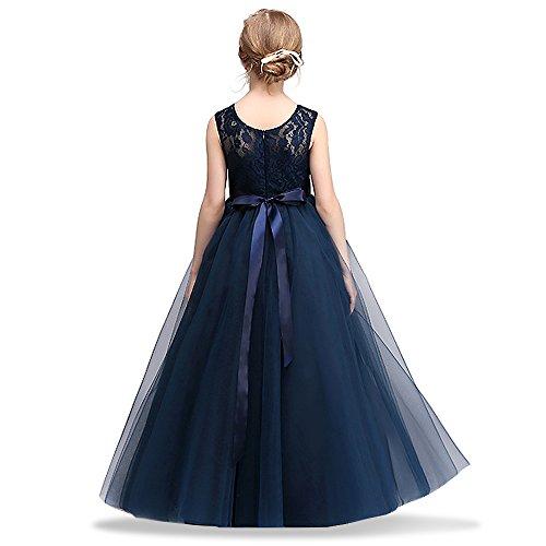 HUANQIUE Mädchen Kleider Prinzessin Hochzeit Abendkleid Kinder mit Schleife Spitzen Navy (Kinder Tanzabend Kostüme)