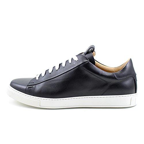 GIORGIO REA Sneakers Chaussures Sneackers Homme Noir Fait à la Main en Italie, Single Boucle, Brogues, Mocassins, Boucles, Élégant, Haute Couture