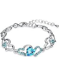 Mahi Rhodium Plated Lovely Heart Link Bracelet With Glittering Crystal Stones BR1100277RBlu