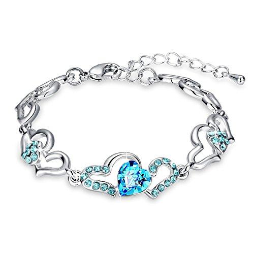 Oviya Silver Rhodium Plated With Glittering Crystal Stones Strand Bracelet For Women