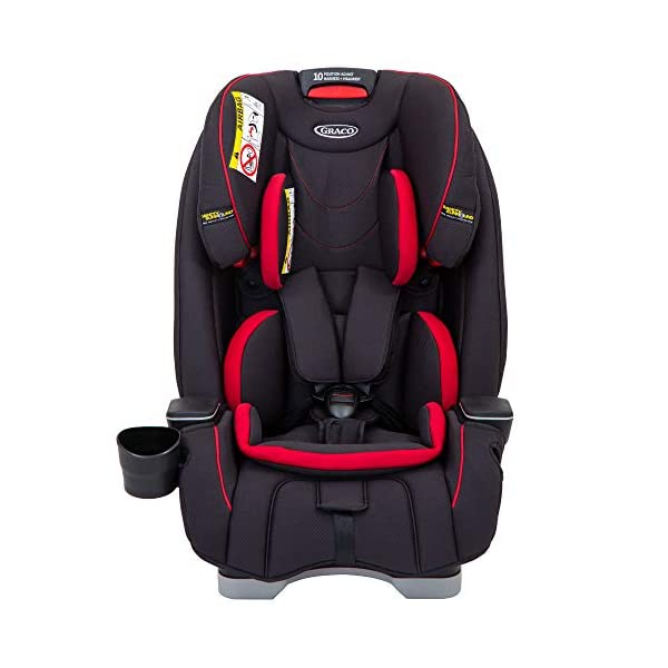 Graco SlimFit All-in-One Car Seat, Group 0+/1/2/3, Fiery Red Graco 3 in 1 car seat can be used from birth up to 36 kg (approximately 12 years). rearward facing for longer from birth to approx. 4 years (0-18kg) Easily converts to and from the three riding positions; rear-facing harnessed seat (0-18kg), to forward-facing harnessed seat (9-18kg) and to high back booster (15-36kg) True shield safety surround side impact protection for enhanced safety 1