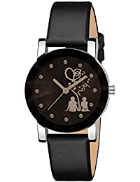 Bhakti Fashion Shunya Crystal Glass Analogue Black Dial Girl's Watch