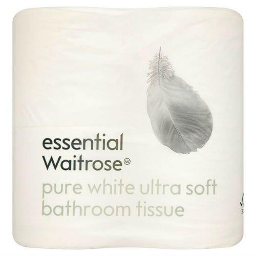 Ultra Soft WC Gewebe Pure weiß Essential Waitrose 4Pro Pack Fall von 4