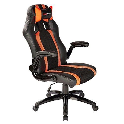 Mars Gaming MGC2BO - Chaise de Jeu Professionnelle avec Roues (Inclinaison réglable et Hauteur, appuie-tête rembourré, accoudoirs rembourrés et réglables, Ergonomique), Noir et Orange