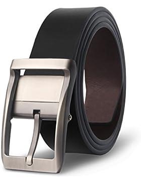 M.R Cinturón Hombre Cuero de Piel Negro Marrón Clásico con Reversible Hebilla Giratoria 33mm