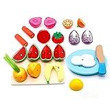 Cocina Infantil - Cortar Frutas Verduras Juguetes Madera Alimentos de Juguete Frutas y Verduras Juguete con 23PCS Set de Cocina para Niños Niñas 3 4 5 Años+
