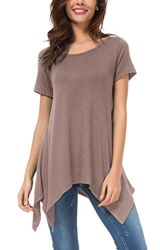 Urban GoCo Damen Kurz Ärmel Lose Langshirt T-Shirt sidetale Tunika Tops Bluse (L, Thistle)