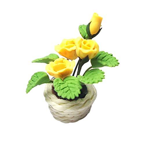 Luccase 1: 12 Grüne Puppenhaus Kunstblume Spielzeug Kunststoff Miniatur Garten Szene Modell Grüne Eingemachte Rosen Mini Blumentöpfe Pretend Spielzeug für Kinder, 40x20x10mm