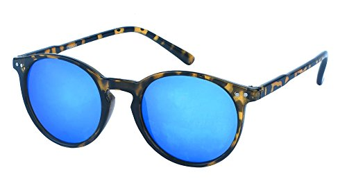Chic-Net Sonnenbrille rund John Lennon Punkte Vintage Retro 400UV Schlüsselloch Steg blau (Blau Schlüsselloch)