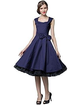 33d6973461e7 YACUN Vintage 1950 di stile senza maniche con stampa floreale delle donne  Rockabilly partito swing Vestito
