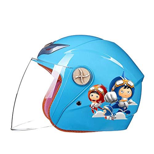 YUEMS Motorrad Elektroauto Kinderhelm Jungen und Mädchen Baby Niedlichen Cartoon Frühling und Sommersaison Helm Halben Helm (Farbe : Blau, größe : B)