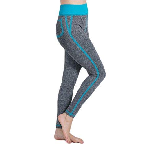 Yogogo Hohe Taille Pants Yoga-Hosen Baggy Boho Aladdin Overall Pluderhosen Sport-Hose Legging EVA (Hellblau, L) (Capri-baumwoll-overalls)