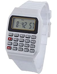 Pappi Boss - Quality Assured - Unisex Silicone Smart White Calculator Digital Led Wrist Watch for Boys, Girls, Kids