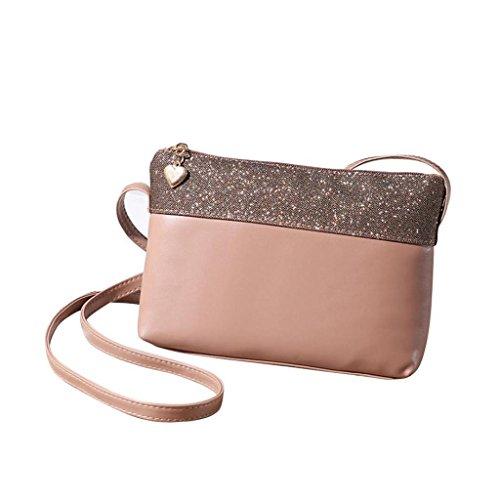 VENMO Frauen PU Leder Umhängetasche Handtasche Satchel Geldbörse Hobo Messenger Bags (Khaki) (Leder-satchel Luxe)