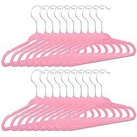 Relaxdays Kinderkleiderbügel 20er Set, aus Kunststoff, Kinderbügel Samt, weiche Babybügel, HBT: 18 x 28 x 0,5 cm, pink