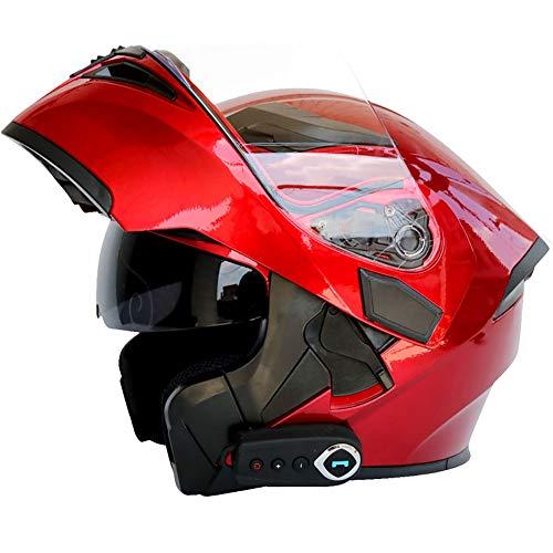 TKer Bluetooth Integrado Casco de Moto Modular de Cara Completa abatible con Doble Visera para Hombres y Mujeres Adultos, Certificación ECE,Rojo,XXL