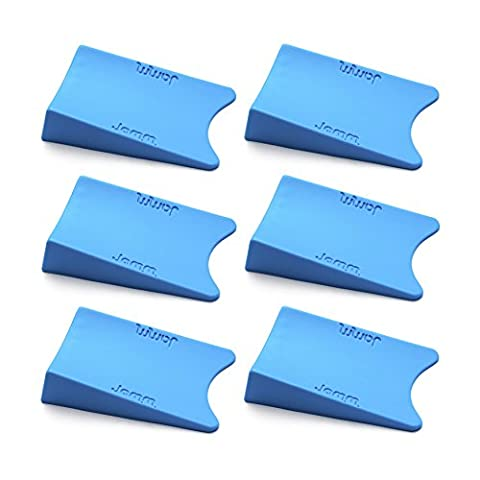 THE #1 Rated Doorstop. Outperforms all other door stops and door wedges. Its unique Award winning design holds doors fast from both sides at the same time. Premium Non Rubber Hardware. Food-grade materials. BpA, Lead and Phthalate free. UL Tested. (Six pack, Pacific Blue)
