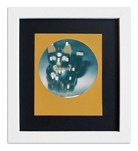 WandStyle Rahmen für Polaroid-Bilder Serie A850 weiß gemasert Normalglas inkl. Passepartout schwarz für 1 Polaroid