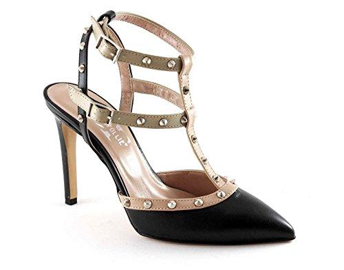 DIVINE FOLLIE 75 nero beige sandali donna borchie punta chiusa tacco Nero