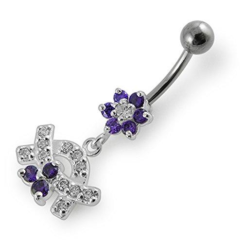 Bijou de nombril Fleurs pierres fantaisies Multi cristal pendant Argent Sterling 925 avec Banane 14Gx3/8(1.6x10MM) en acier chirurgical 316L et boule 5mm. Purple