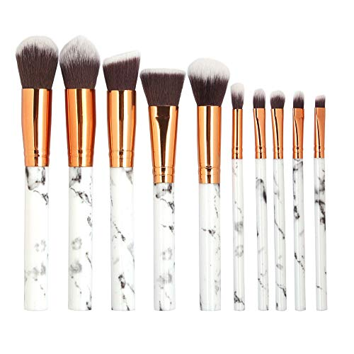 KAJIWWA 10 Stücke Make-Up Pinsel Set Start Makers Make-Up Pinsel Professionelle Kosmetik Kit mit...
