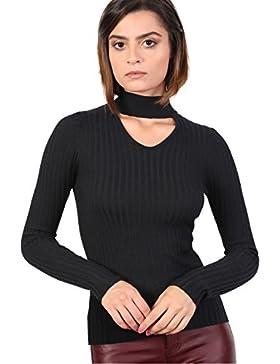 PILOT® flaco cuello gargantilla acanalado jersey de manga larga