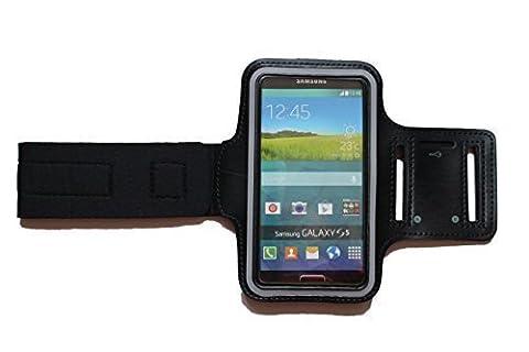 Schwarz M Sport Armband Schutz Hülle für Samsung Galaxy S5 mini und A5, Case veränderbarer Länge, für Rennen, Workout, Wandern, Fitness und Laufen mit Kopfhöreranschluss aus Neopren -