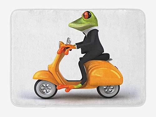 MSGDF Animal Bath Mat, Serious Italian Stylish Frog Riding Motorcycle Fun Nature Graphic Urban Art, Plush Bathroom Decor Mat with Non Slip Backing, 23.6 W X 15.7 W Inches, Green Black Orange