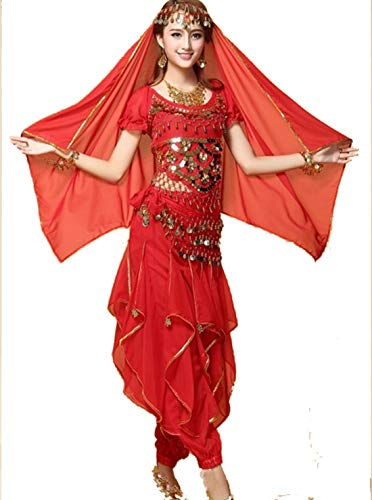 Bollywood Tänzerin Kostüm - ZYLL 4 Stück Set Damen Indian Dance Kostüm, Bauchtanz Halloween Karneval Kostüm Bollywood Tänzerin Kostüm,Red