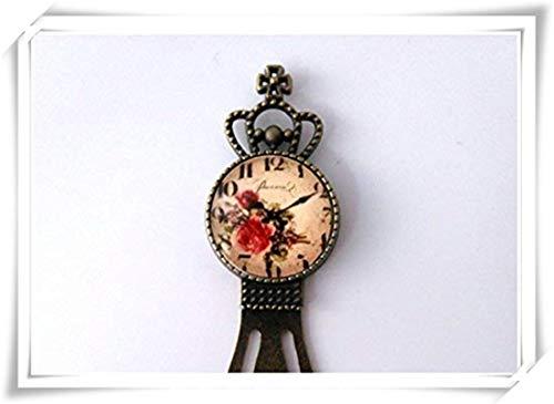 JUN Antik Vintage Floral Uhr Lesezeichen, Dome Glas Schmuck, Pure Handgefertigt Floral Dome