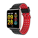LJXAN Smart Color Screen Sportarmband Herzfrequenz Blut Druck-Überwachung Bluetooth Pedometer Fitness Activity Trackertracker,Red