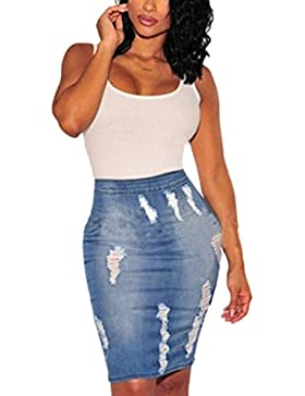 Le Donne Solido Hot Strappato Buco Bodycon Denim Jeans Svasato Gonna Minigonna