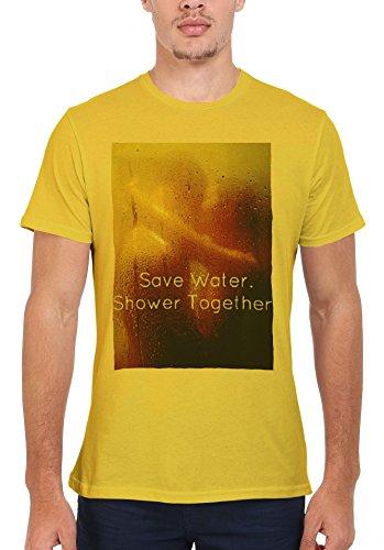 Save Water Shower Together Sexy Couple Men Women Damen Herren Unisex Top T  Shirt Licht Gelb