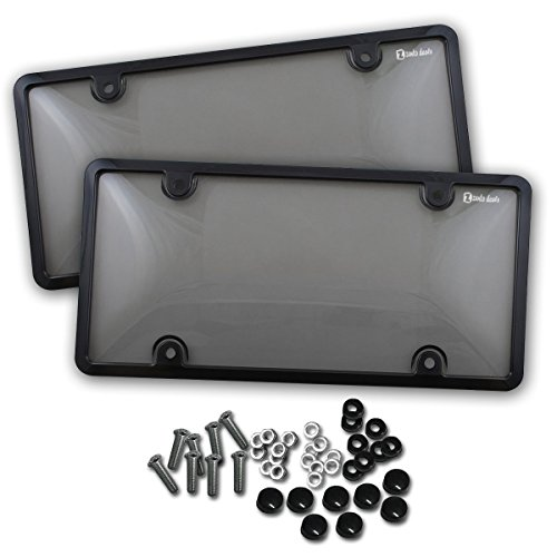Zento Deals 2 Stücke von unzerbrechlich License Plate Shield covers-smoke-tinted Shield black-fits alle Standard 15,2 x 30,5 cm Neuheit/Lizenz Teller