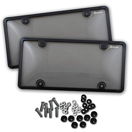 Zento Deals 2Stücke von unzerbrechlich License Plate Shield covers-smoke-tinted Shield black-fits alle Standard 15,2x 30,5cm Neuheit/Lizenz Teller