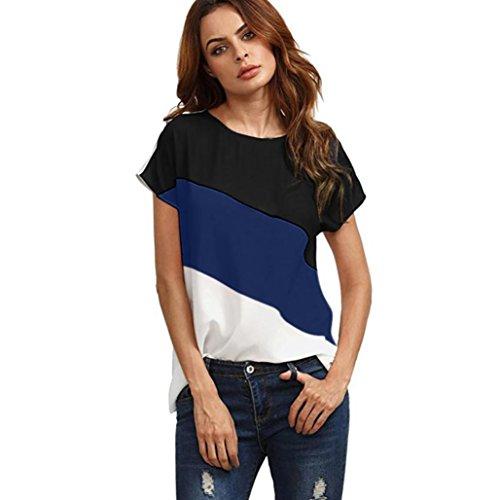 MRULIC Damen Kurzarm T-Shirt Rundhals Ausschnitt Lose Hemd Pullover Sweatshirt Oberteil Tops (EU-40/CN-L, Dunkelblau)