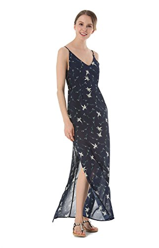 ACVIP Chiffon Lungo Vestito Canotte Senza Schiena Vestito Spiaggia Fiori Blu scuro