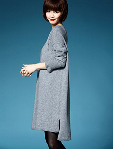 MatchLife Femme Pull-over Jumper Chandail Pull Robe Style4-Gris