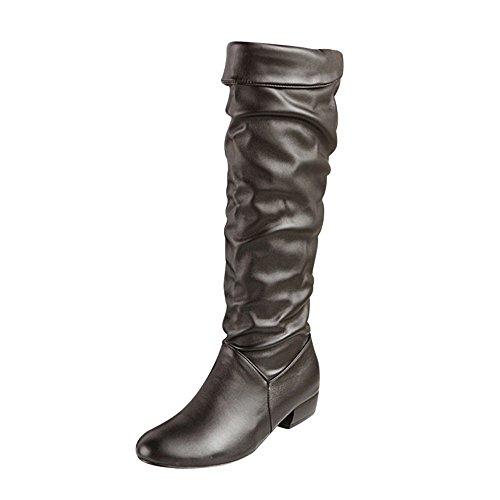 Damen Schuhe DEELIN Damen Neue Produkte Winter Kniehohe Stiefel High Tube Flat Heels Reitstiefel Profilsohle Leder Optik Stiefeletten (41, Schwarz) (Flats, High Heel)