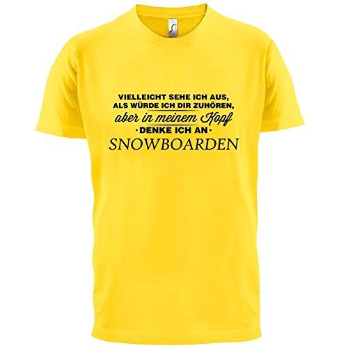 Vielleicht sehe ich aus als würde ich dir zuhören aber in meinem Kopf denke ich an Snowboarden - Herren T-Shirt - 13 Farben Gelb