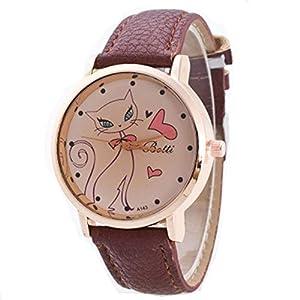 Digitaluhr Für Kinder, Süß Jugendliche Leder Und Goldenes Zifferblatt Lederband Cat Quarzuhr, Mit Jintong Farbe Wählen Sie Analoges Uhr-Geschenk